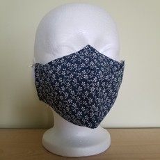 Maskalulu Masque - Mini fleurs blanches sur fond bleu