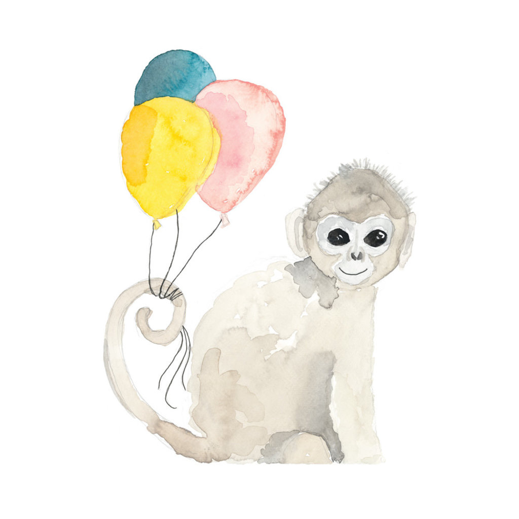 Stéphanie Renière Mini carte - Singe d'anniversaire