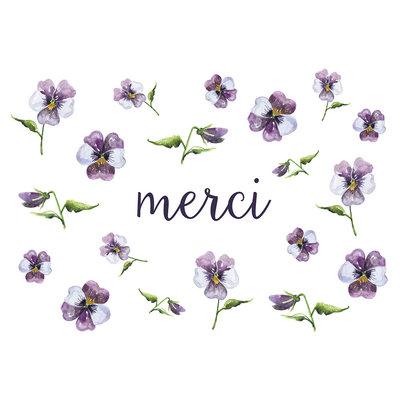 Stéphanie Renière Mini carte - Merci (pensées mauves)