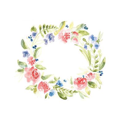 Stéphanie Renière Mini carte - Couronne de fleurs