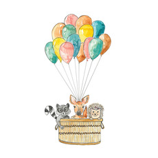 Stéphanie Renière Carte - Animaux et ballons