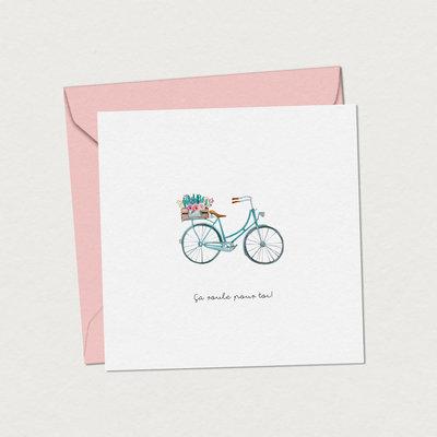 Mimosa design Carte de souhaits -Bicyclette