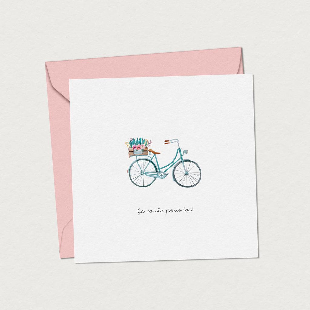 Mimosa design Carte de souhaits - Bicyclette