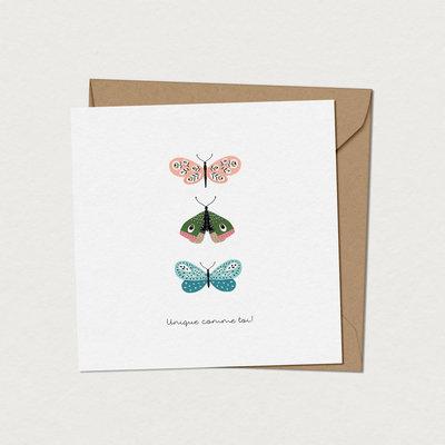 Mimosa design Carte de souhaits -Papillons