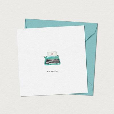 Mimosa design Carte de souhaits - Machine à écrire