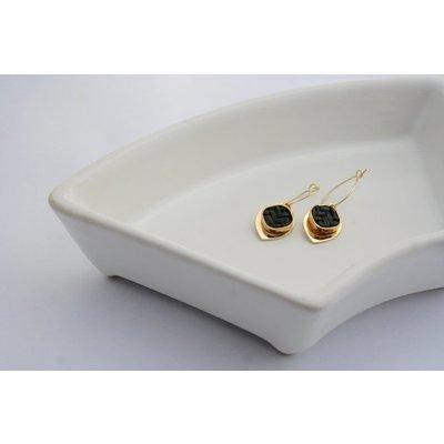 Boucle d'or Boucles d'oreilles- pendentif en rotin noir et goutte plaqué or