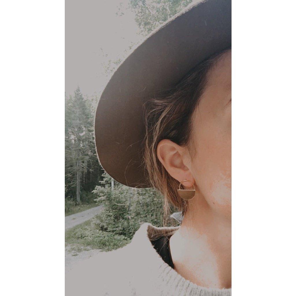 Boucle d'or Boucles d'oreilles- demi-cercle plaqué or