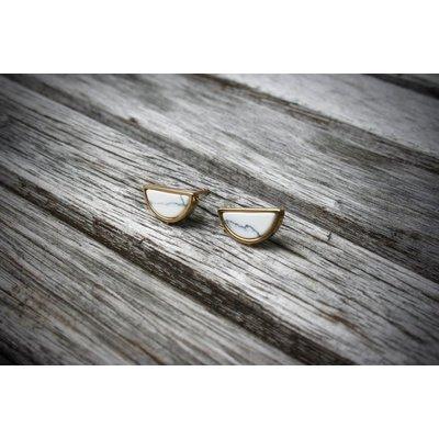 Boucle d'or Boucles d'oreilles - Demi-Lune marbrés blanche