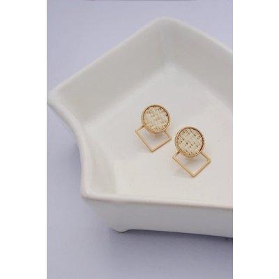 Boucle d'or Boucles d'oreilles - Cercle de rotin et carré