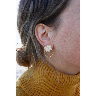 Boucle d'or Boucles d'oreilles - Cercle de rotin et cercle or