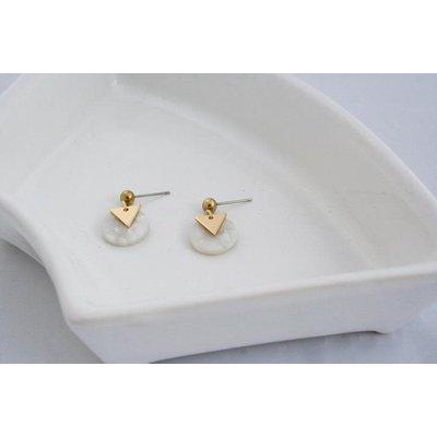 Boucle d'or Boucles d'oreilles - Rond acrylique ivoire et triangle or