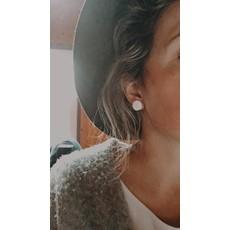 Boucle d'or Boucles d'oreilles - Blanches à motifs de fougères