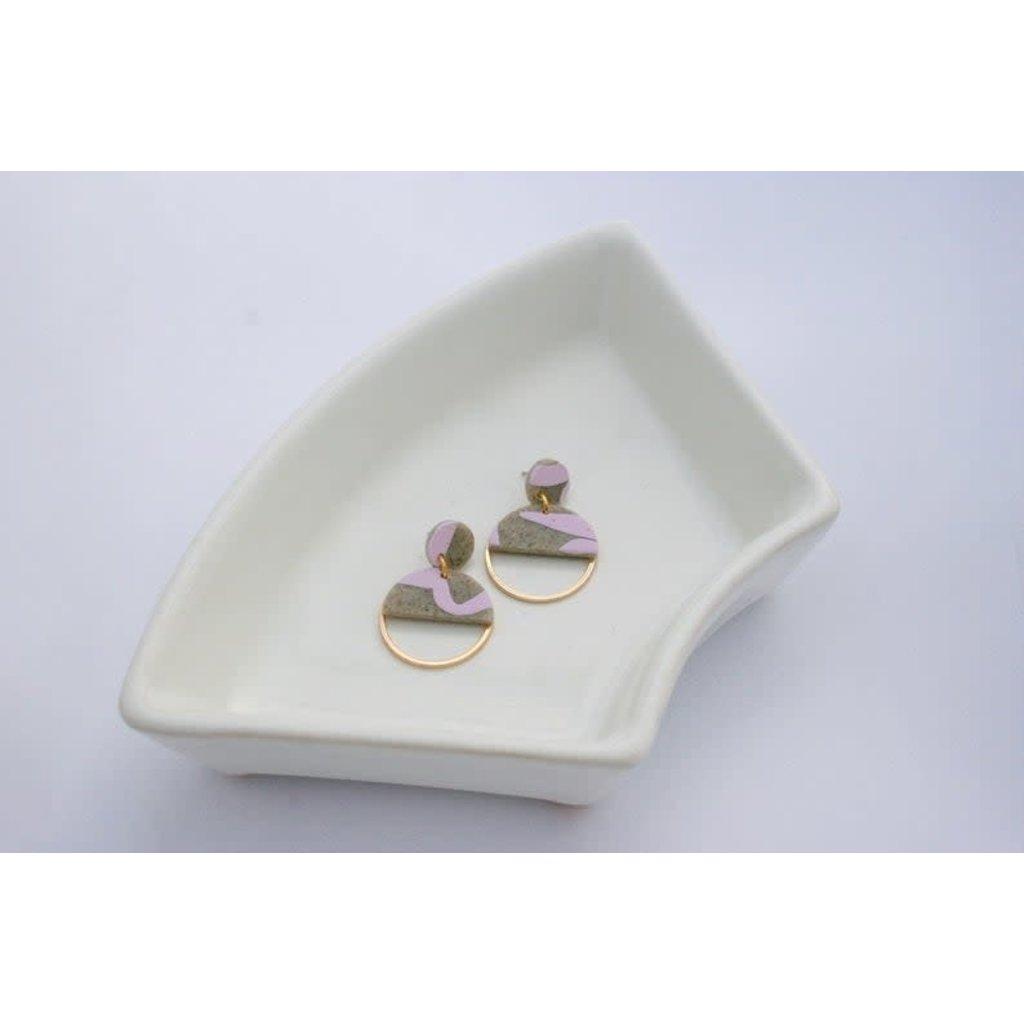 Boucle d'or Boucles d'oreilles - Demi cercle d'argile et cercle or