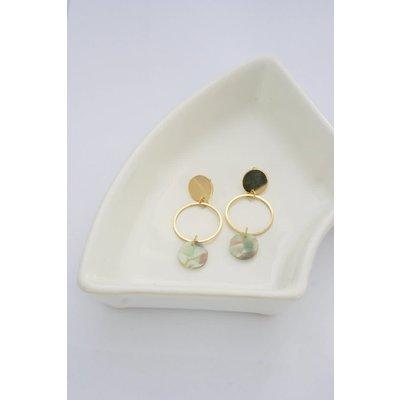 Boucle d'or Boucles d'oreilles - Cercle or et cercle turquoise en acétate