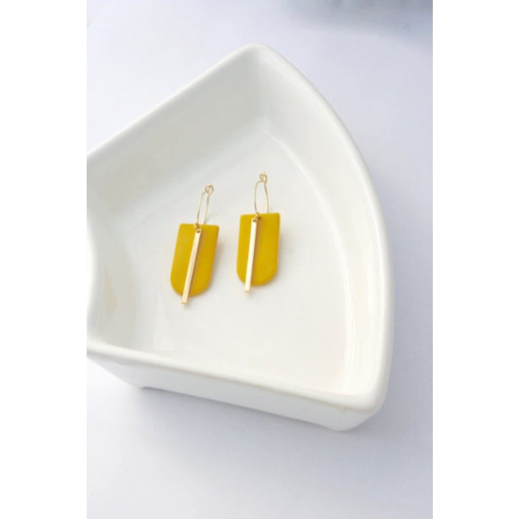 Boucle d'or Boucles d'oreilles - Rectangles circulaires et tige or