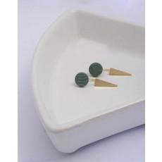 Boucle d'or Boucles d'oreilles - Rond en argile et pique plaqué or
