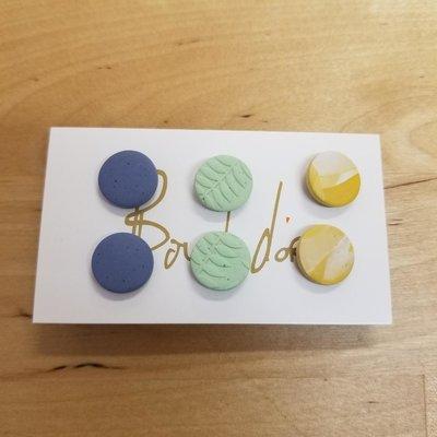 Boucle d'or Trio boucles d'oreilles - Bleu, Vert, Jaune