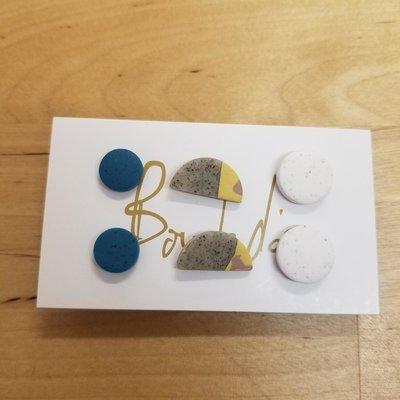 Boucle d'or Trio boucles d'oreilles - Turquoise, Sable et Blanc