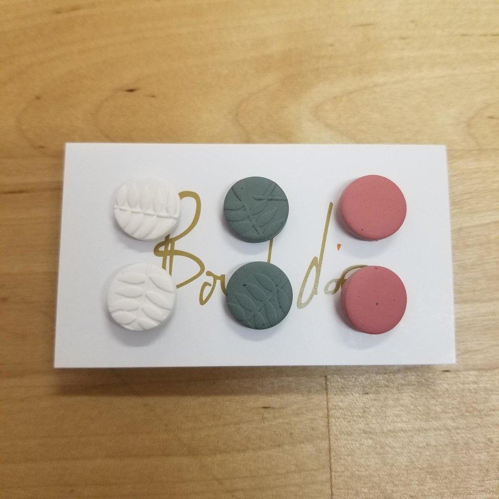 Boucle d'or Trio boucles d'oreilles - Blanc, Vert et Rose