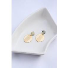 Boucle d'or Boucles d'oreilles - Cercle or et cercle en acétate turquoise,