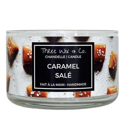Three Wix & Co. Chandelle à trois mèches - Caramel salé