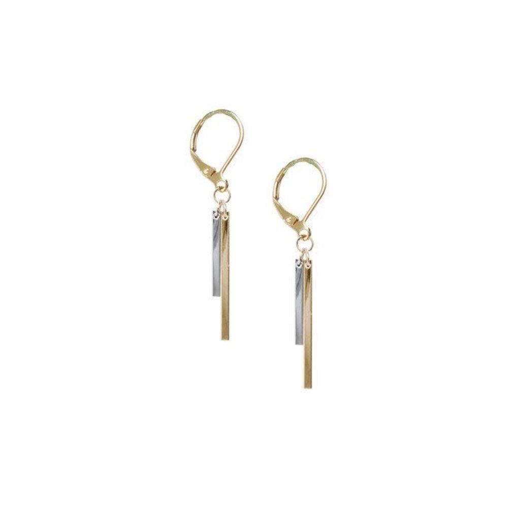 Caracol Boucles d'oreilles - Double bâtons métal asymétriques