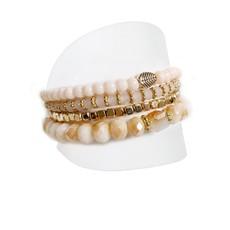 Caracol Ensemble de 4 bracelets avec perles de verre et métal rose