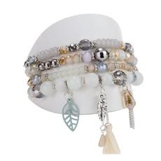Caracol Ensemble de 4 bracelets pièces de verre et breloques assorties beiges