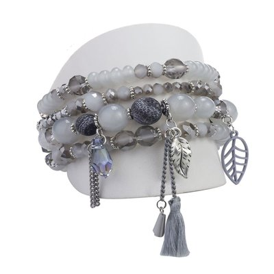 Caracol Ensemble de 4 bracelets pièces de verre et breloques assorties gris