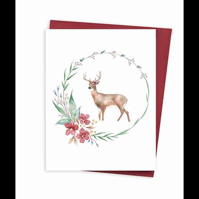 Hobeika Art Carte de Noël - Cerf et couronne
