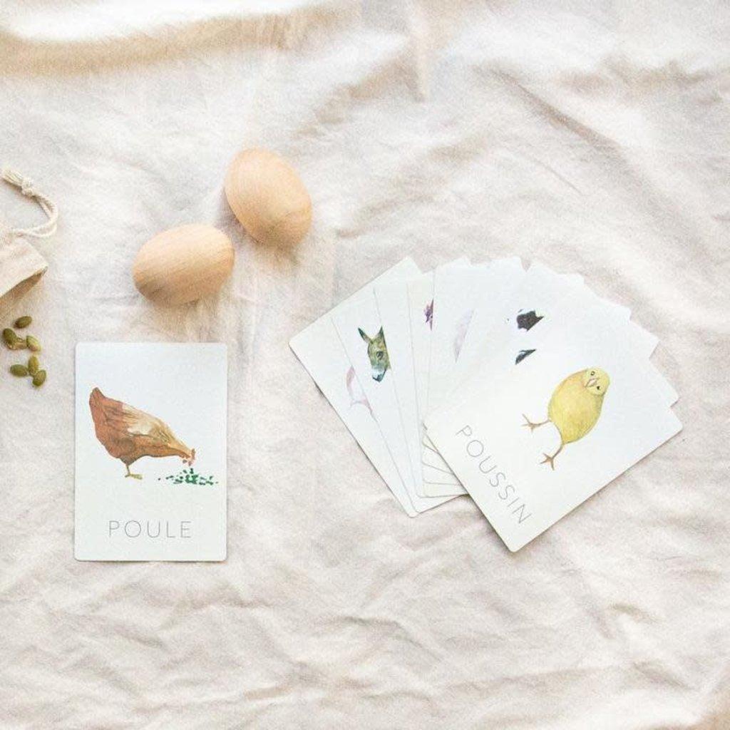 Pastel Cartes d'apprentissage résistantes - Animaux de la ferme