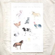 Pastel Affiche éducative & décorative - Animaux de la ferme