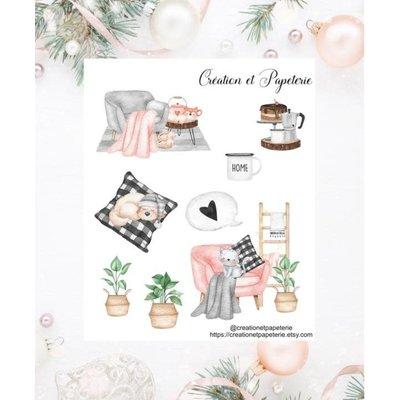 Création et Papeterie Autocollants - Home sweet home