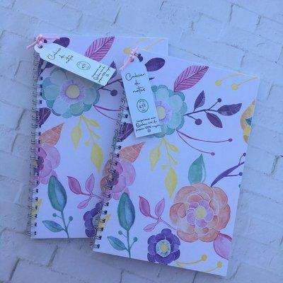 Kit de Survie Cahier à spirale plastifié fleurs - Ligné