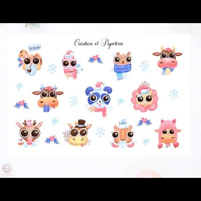 Création et Papeterie Autocollants - Animaux de Noël