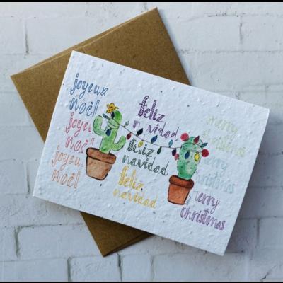 Kit de Survie Carte ensemencée de Noël - Cactus Feliz Navidad