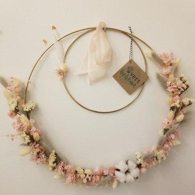 Vert Bohème Couronne de fleurs roses double