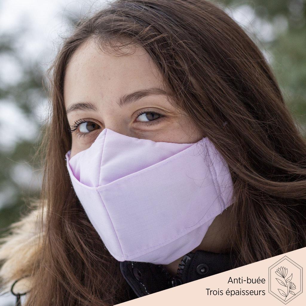 Maskalulu Masque anti-buée trois épaisseurs - Rose pastel