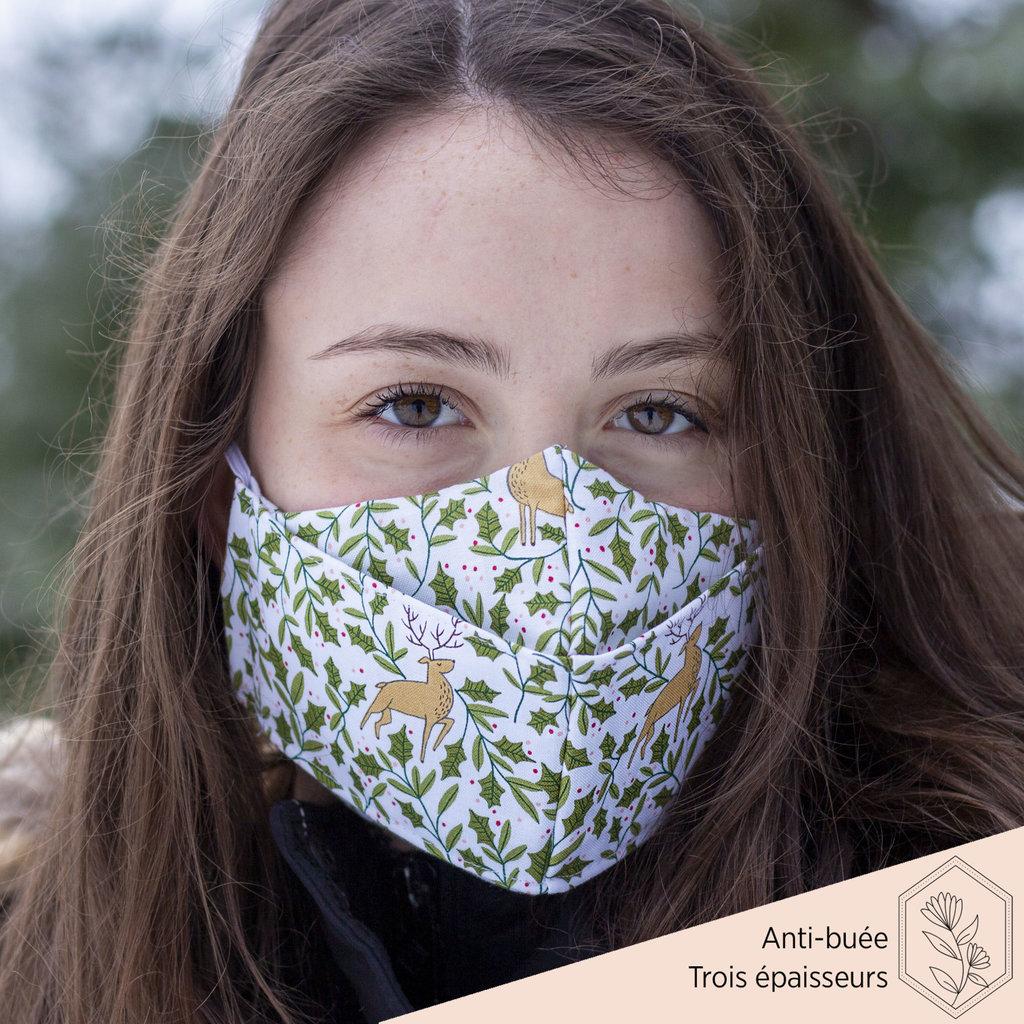 Maskalulu Masque anti-buée trois épaisseurs - Renne de Noël