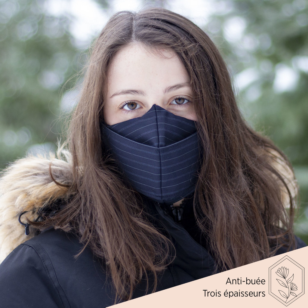 Maskalulu Masque anti-buée trois épaisseurs - Rayé (horizontal)