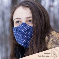 Maskalulu Masque anti-buée trois épaisseurs - Marin à pois