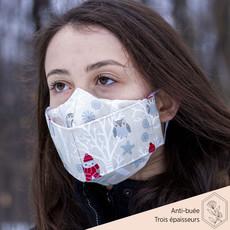 Maskalulu Masque anti-buée trois épaisseurs - Hibou des neiges