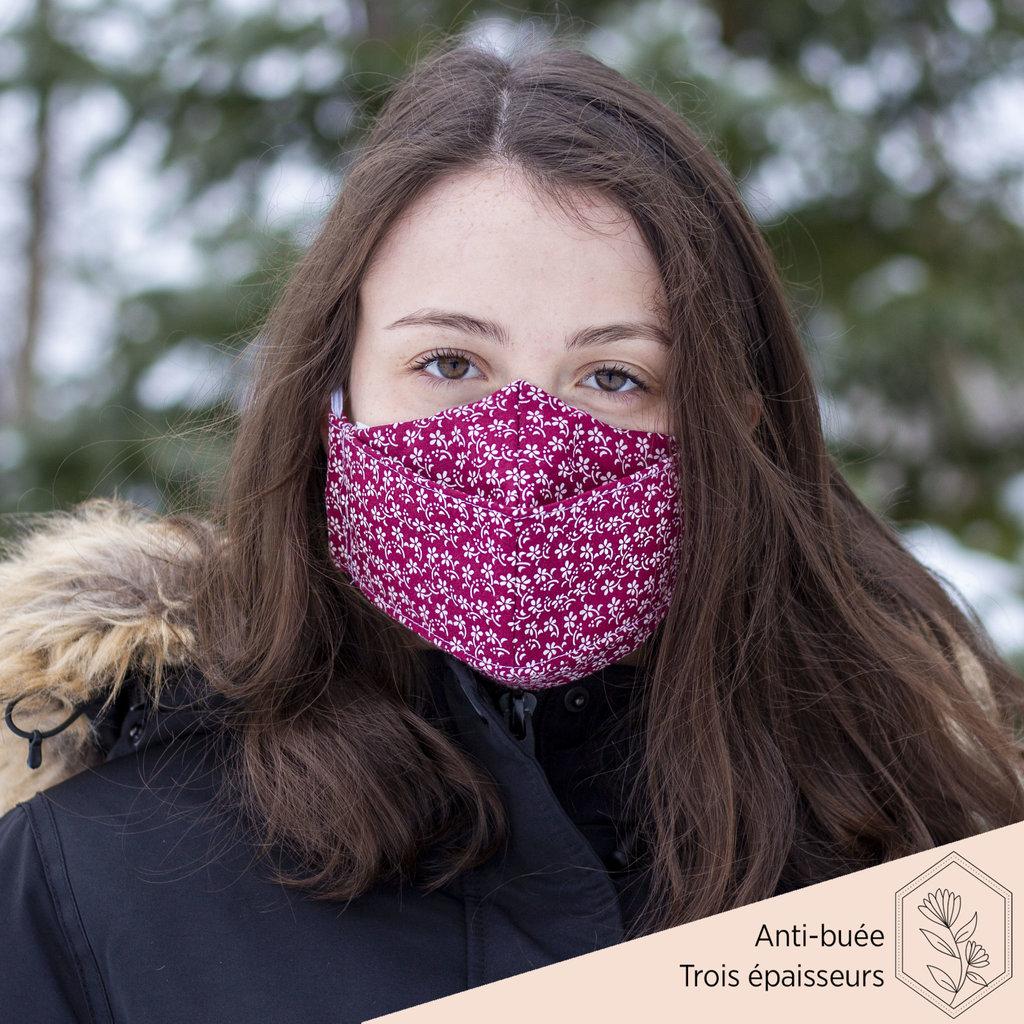 Maskalulu Masque anti-buée trois épaisseurs - Harmonie de fleurs