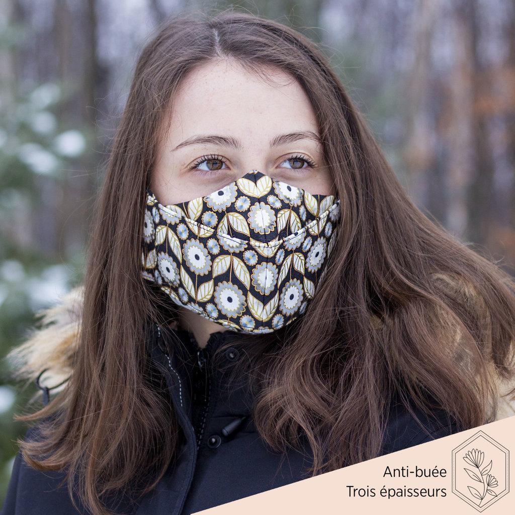 Maskalulu Masque anti-buée trois épaisseurs - Fleur d'or