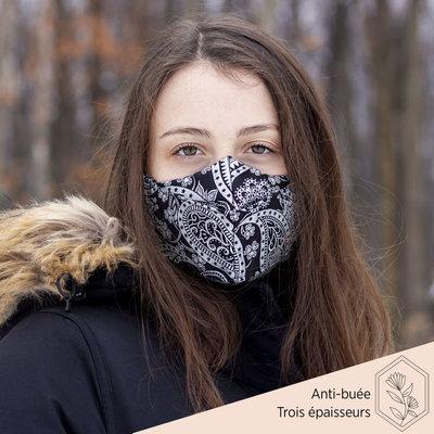 Maskalulu Masque anti-buée trois épaisseurs - Chic argent