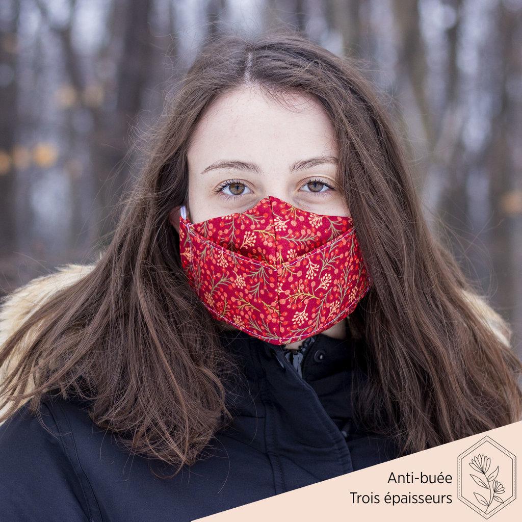 Maskalulu Masque anti-buée trois épaisseurs - Bonheur de Noël