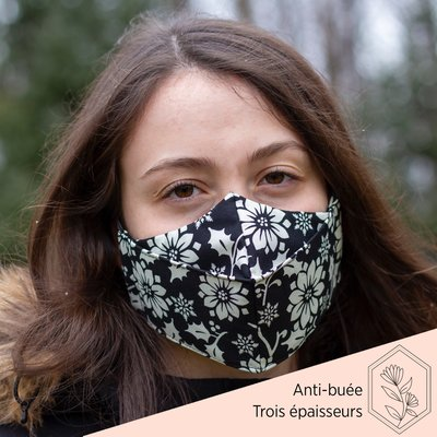 Maskalulu Masque anti-buée trois épaisseurs - Poinsettia