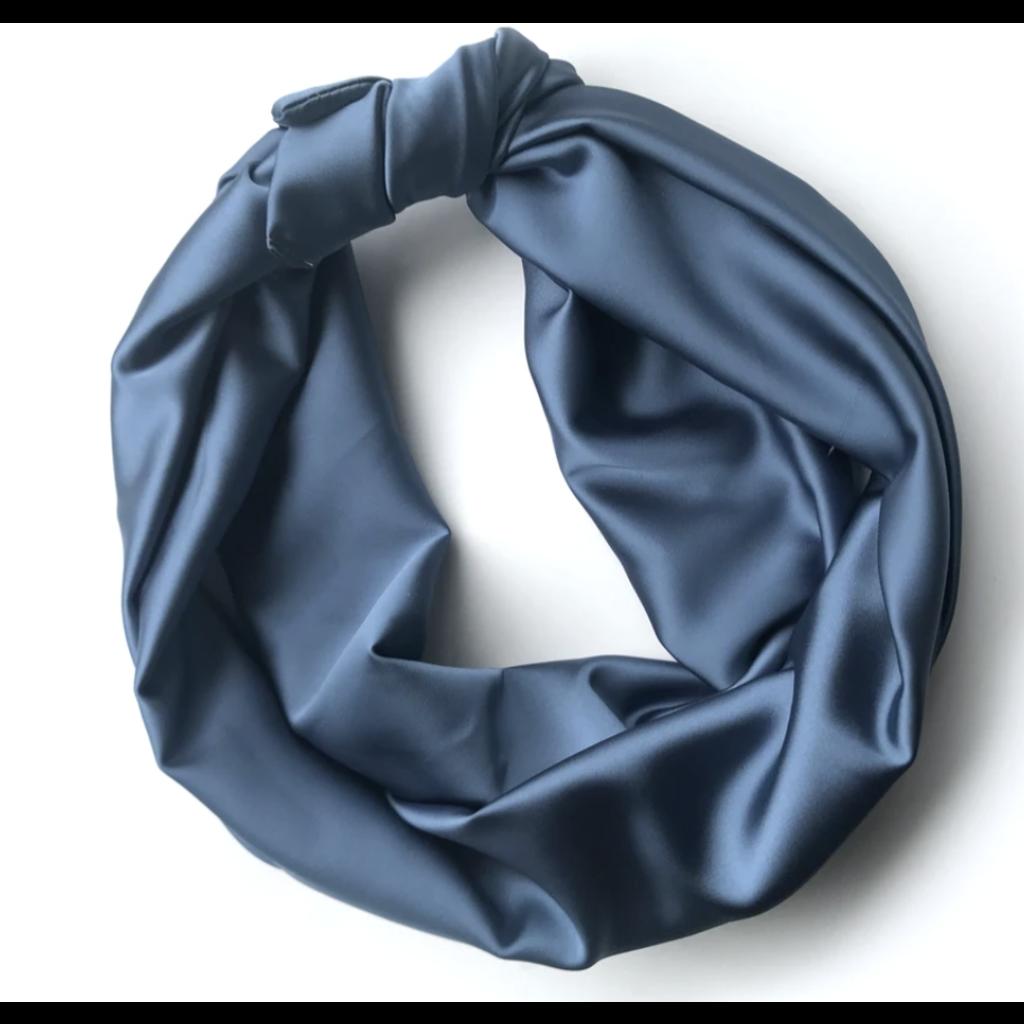Gibou Bandeau à torsader XL  en satin - Bleu Cyan