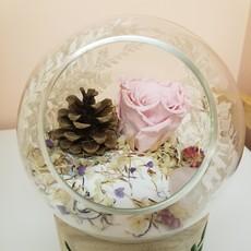 Vert Bohème Forêt - Rose éternelle rose et fleurs séchées