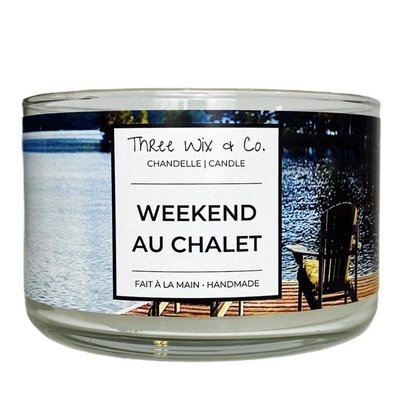 Three Wix & Co. Chandelle à trois mèches - Weekend au chalet